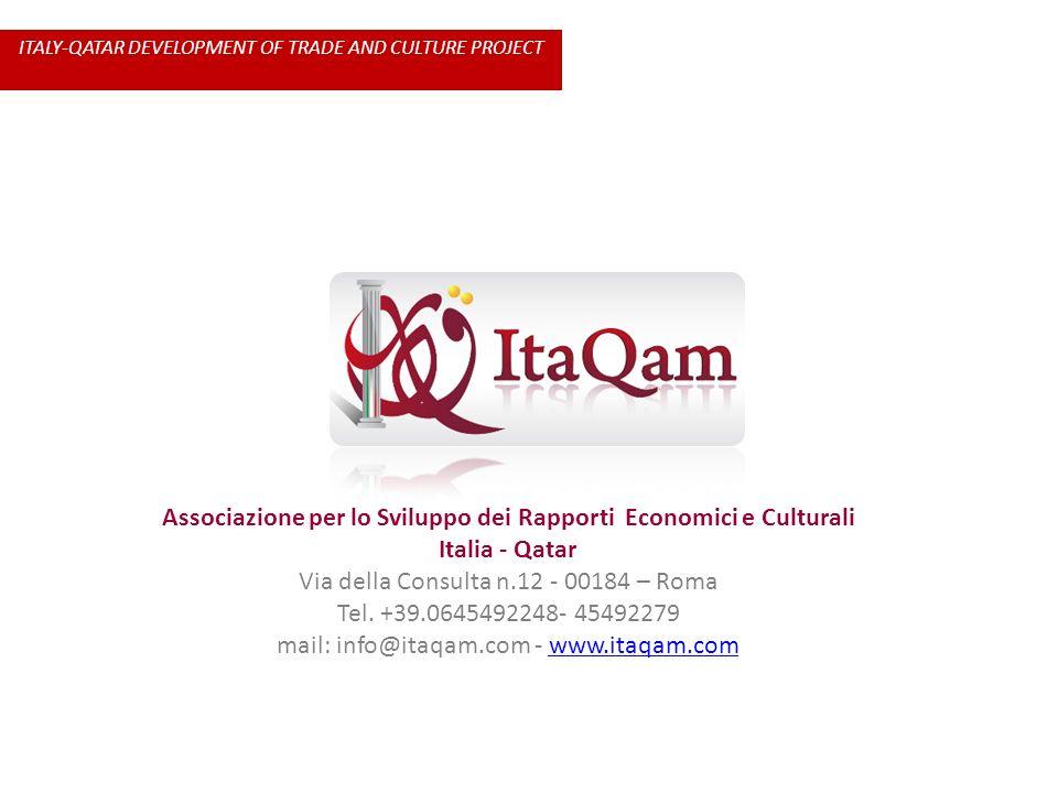 Associazione per lo Sviluppo dei Rapporti Economici e Culturali Italia - Qatar Via della Consulta n.12 - 00184 – Roma Tel. +39.0645492248- 45492279 ma