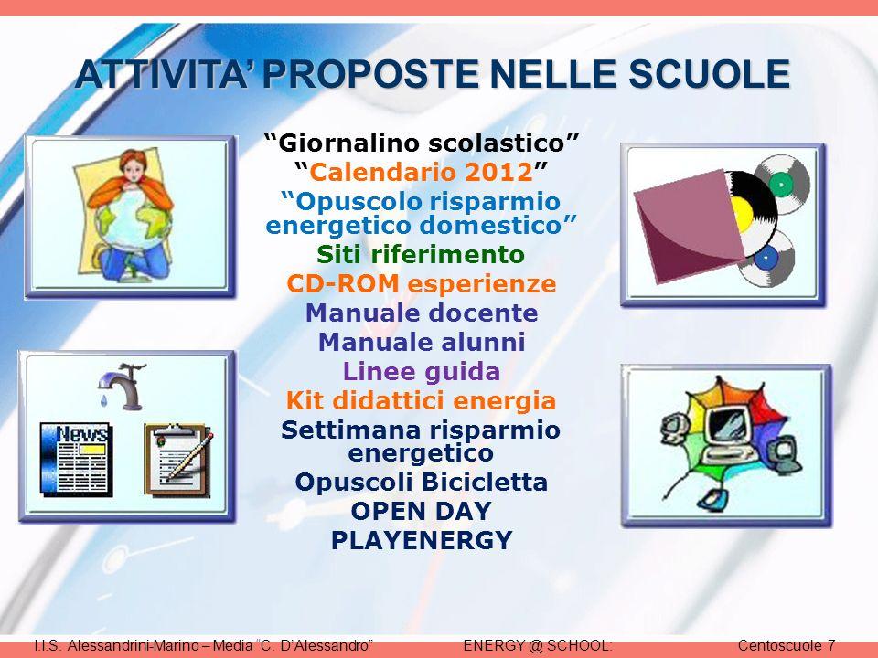 ENERGY @ SCHOOL:Centoscuole 7I.I.S. Alessandrini-Marino – Media C.