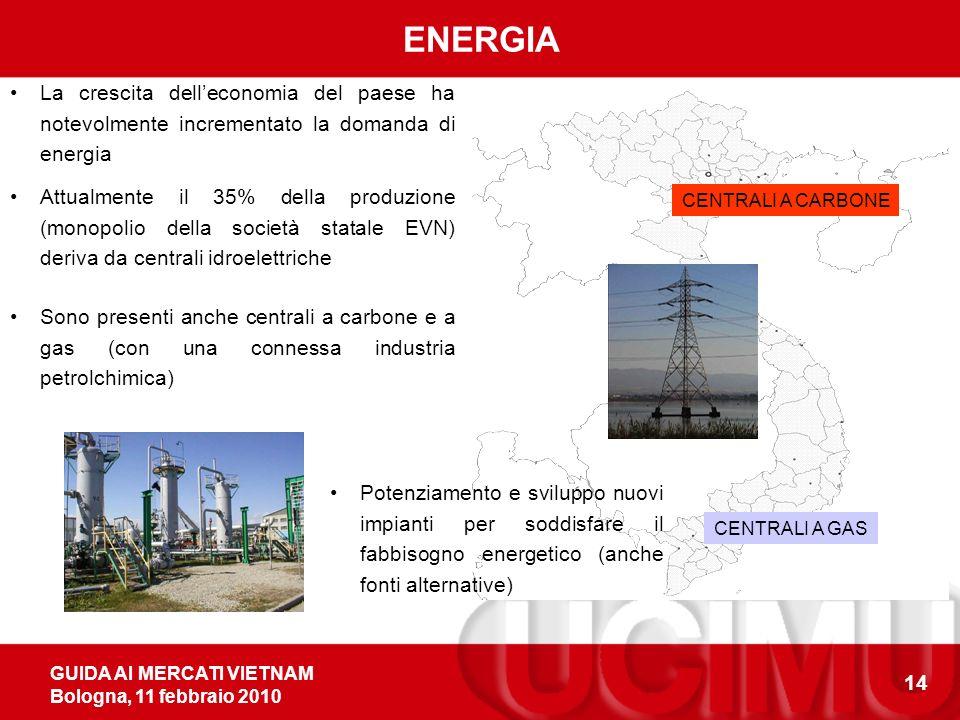 GUIDA AI MERCATI VIETNAM Bologna, 11 febbraio 2010 14 ENERGIA La crescita delleconomia del paese ha notevolmente incrementato la domanda di energia CENTRALI A CARBONE CENTRALI A GAS Sono presenti anche centrali a carbone e a gas (con una connessa industria petrolchimica) Attualmente il 35% della produzione (monopolio della società statale EVN) deriva da centrali idroelettriche Potenziamento e sviluppo nuovi impianti per soddisfare il fabbisogno energetico (anche fonti alternative)
