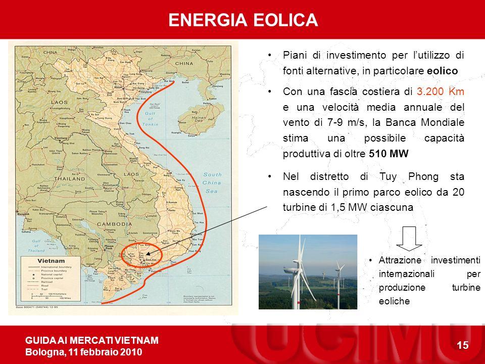 GUIDA AI MERCATI VIETNAM Bologna, 11 febbraio 2010 15 ENERGIA EOLICA Piani di investimento per lutilizzo di fonti alternative, in particolare eolico Con una fascia costiera di 3.200 Km e una velocità media annuale del vento di 7-9 m/s, la Banca Mondiale stima una possibile capacità produttiva di oltre 510 MW Nel distretto di Tuy Phong sta nascendo il primo parco eolico da 20 turbine di 1,5 MW ciascuna Attrazione investimenti internazionali per produzione turbine eoliche