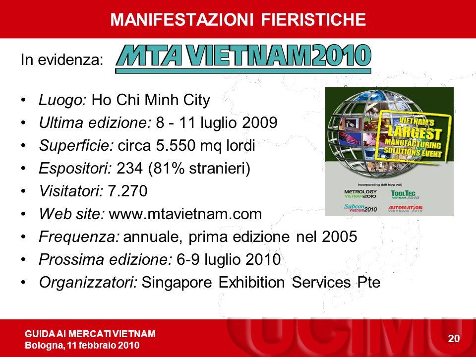GUIDA AI MERCATI VIETNAM Bologna, 11 febbraio 2010 20 MANIFESTAZIONI FIERISTICHE In evidenza: Luogo: Ho Chi Minh City Ultima edizione: 8 - 11 luglio 2009 Superficie: circa 5.550 mq lordi Espositori: 234 (81% stranieri) Visitatori: 7.270 Web site: www.mtavietnam.com Frequenza: annuale, prima edizione nel 2005 Prossima edizione: 6-9 luglio 2010 Organizzatori: Singapore Exhibition Services Pte
