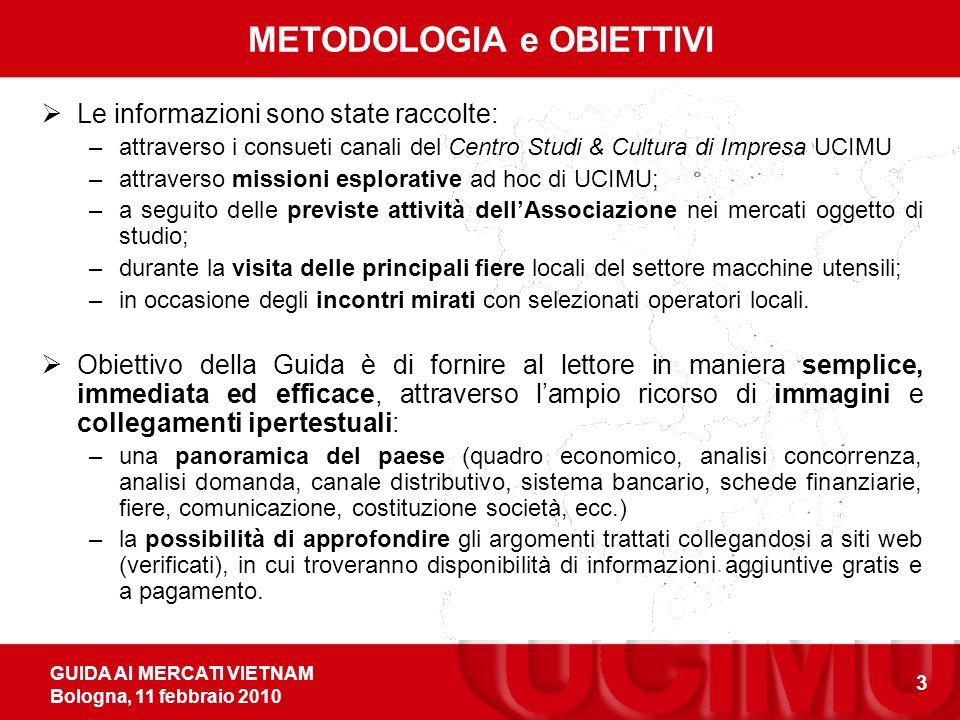 GUIDA AI MERCATI VIETNAM Bologna, 11 febbraio 2010 3 METODOLOGIA e OBIETTIVI Le informazioni sono state raccolte: –attraverso i consueti canali del Ce