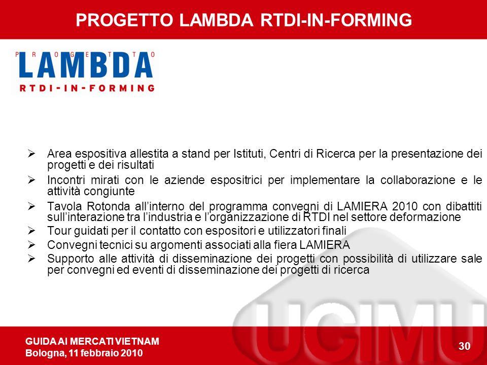 GUIDA AI MERCATI VIETNAM Bologna, 11 febbraio 2010 30 PROGETTO LAMBDA RTDI-IN-FORMING Area espositiva allestita a stand per Istituti, Centri di Ricerc