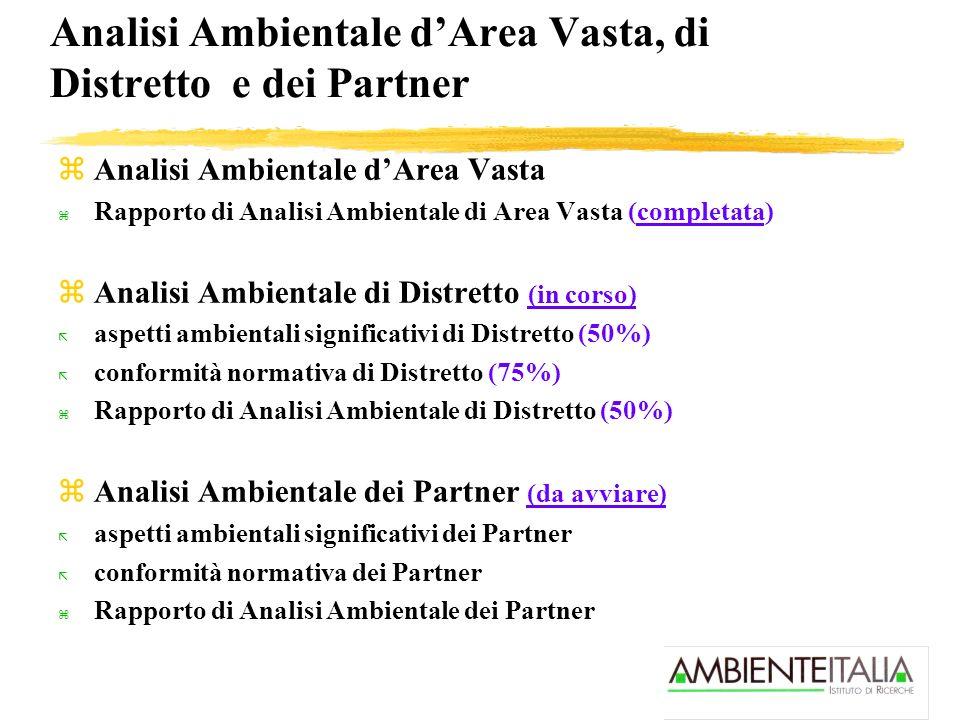 Analisi Ambientale dArea Vasta, di Distretto e dei Partner zAnalisi Ambientale dArea Vasta z Rapporto di Analisi Ambientale di Area Vasta (completata)