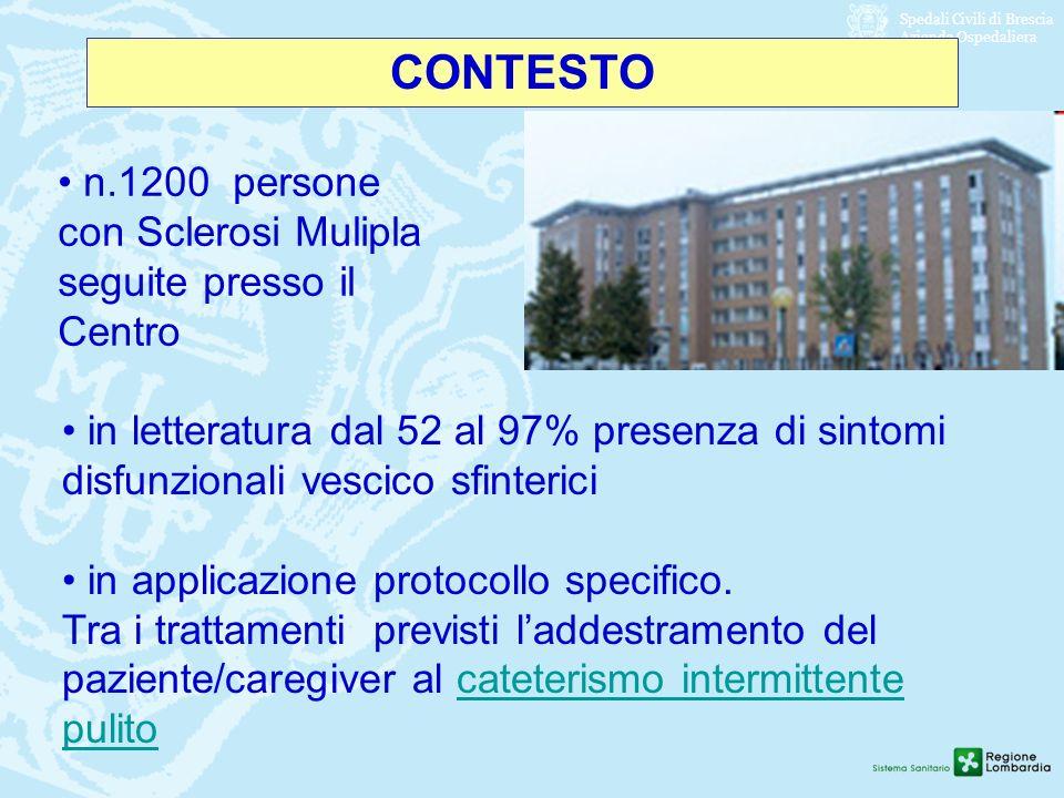 Spedali Civili di Brescia Azienda Ospedaliera CONTESTO n.1200 persone con Sclerosi Mulipla seguite presso il Centro in letteratura dal 52 al 97% prese