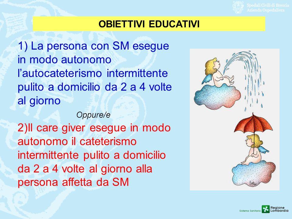Spedali Civili di Brescia Azienda Ospedaliera OBIETTIVI EDUCATIVI 1) La persona con SM esegue in modo autonomo lautocateterismo intermittente pulito a