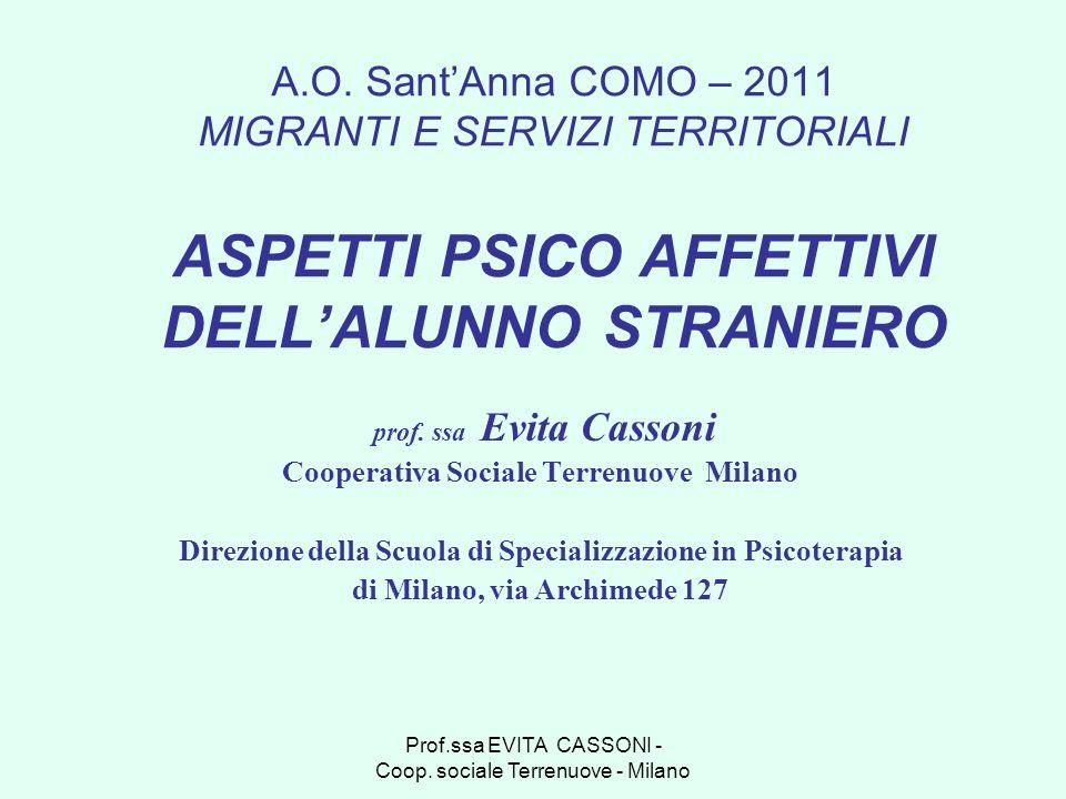 Prof.ssa EVITA CASSONI - Coop. sociale Terrenuove - Milano A.O. SantAnna COMO – 2011 MIGRANTI E SERVIZI TERRITORIALI ASPETTI PSICO AFFETTIVI DELLALUNN