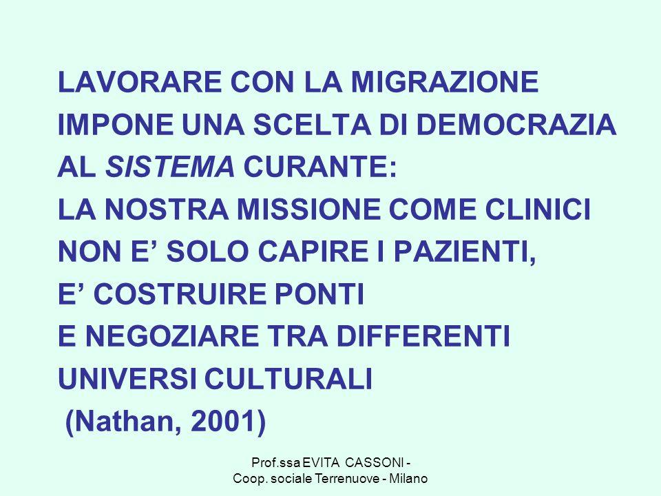 Prof.ssa EVITA CASSONI - Coop. sociale Terrenuove - Milano LAVORARE CON LA MIGRAZIONE IMPONE UNA SCELTA DI DEMOCRAZIA AL SISTEMA CURANTE: LA NOSTRA MI