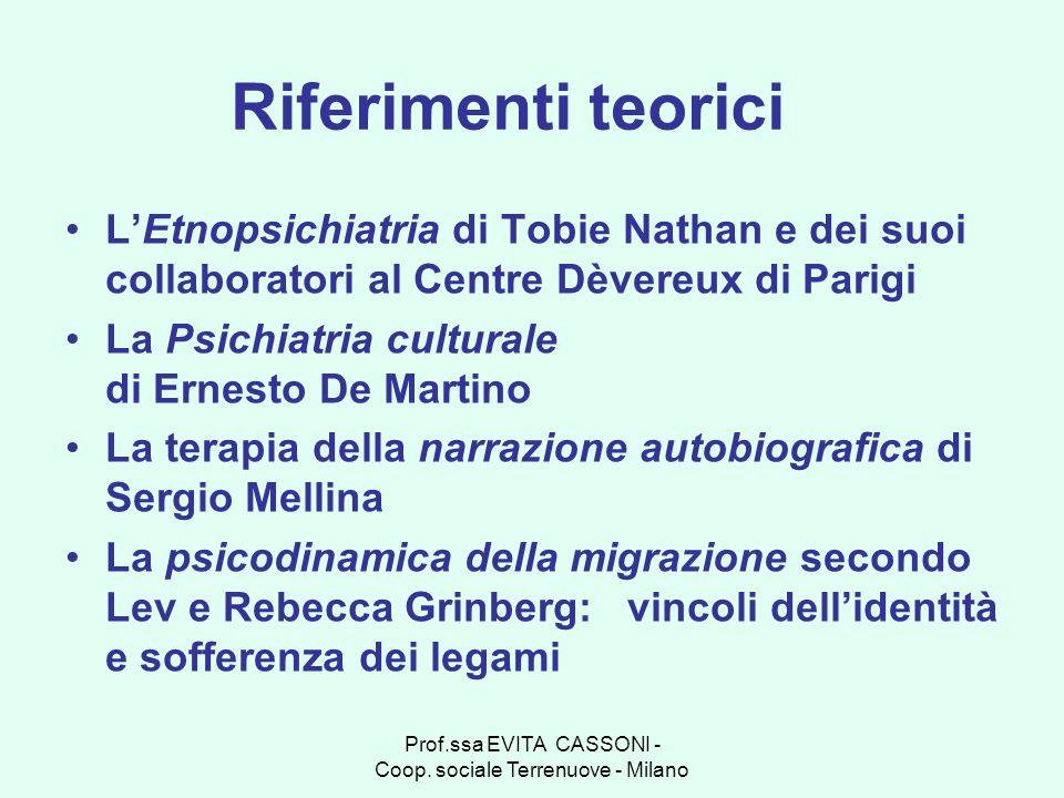 Prof.ssa EVITA CASSONI - Coop. sociale Terrenuove - Milano Riferimenti teorici LEtnopsichiatria di Tobie Nathan e dei suoi collaboratori al Centre Dèv