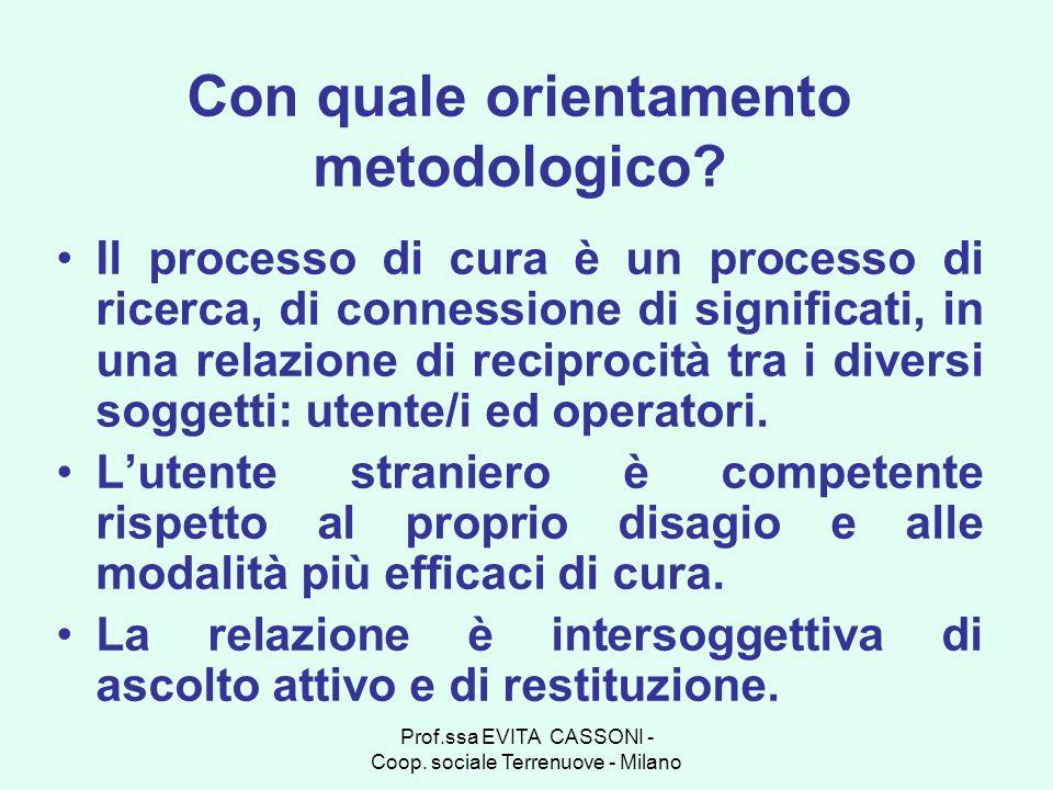 Prof.ssa EVITA CASSONI - Coop. sociale Terrenuove - Milano Con quale orientamento metodologico? Il processo di cura è un processo di ricerca, di conne