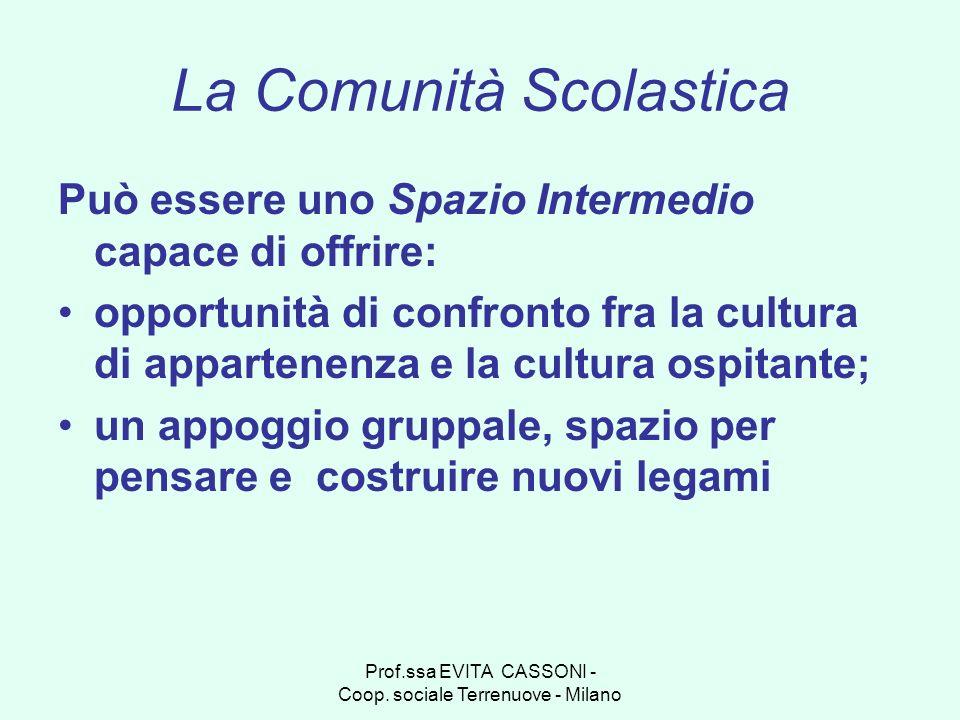 Prof.ssa EVITA CASSONI - Coop. sociale Terrenuove - Milano La Comunità Scolastica Può essere uno Spazio Intermedio capace di offrire: opportunità di c