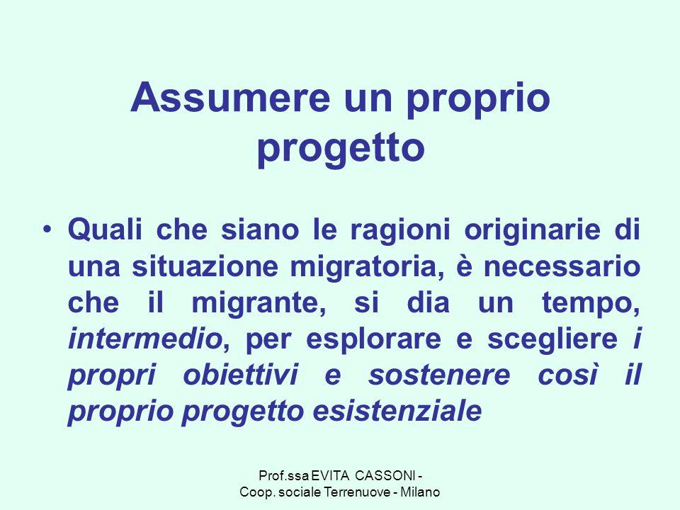 Prof.ssa EVITA CASSONI - Coop. sociale Terrenuove - Milano Assumere un proprio progetto Quali che siano le ragioni originarie di una situazione migrat