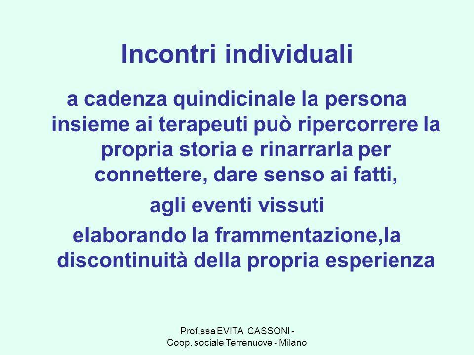 Prof.ssa EVITA CASSONI - Coop. sociale Terrenuove - Milano Incontri individuali a cadenza quindicinale la persona insieme ai terapeuti può ripercorrer