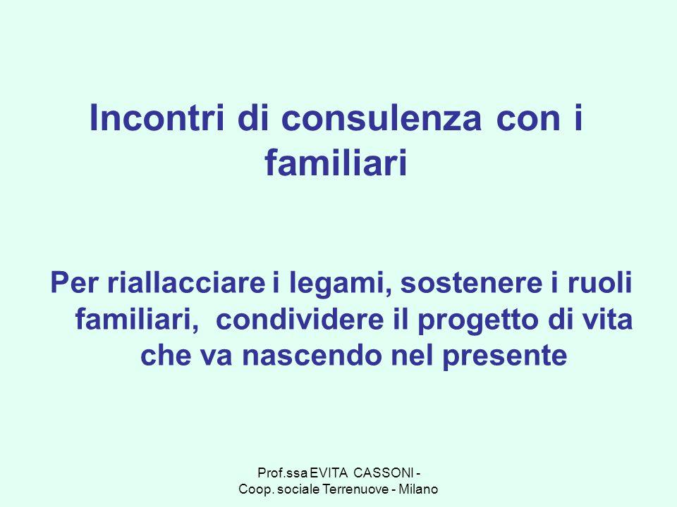 Prof.ssa EVITA CASSONI - Coop. sociale Terrenuove - Milano Incontri di consulenza con i familiari Per riallacciare i legami, sostenere i ruoli familia