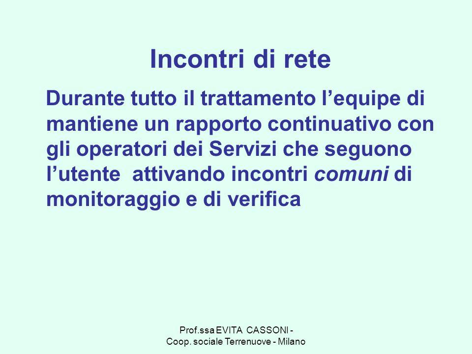 Prof.ssa EVITA CASSONI - Coop. sociale Terrenuove - Milano Incontri di rete Durante tutto il trattamento lequipe di mantiene un rapporto continuativo