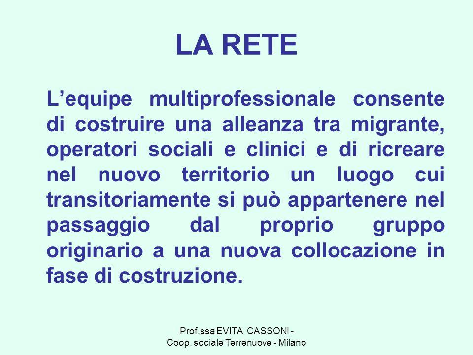 Prof.ssa EVITA CASSONI - Coop. sociale Terrenuove - Milano LA RETE Lequipe multiprofessionale consente di costruire una alleanza tra migrante, operato