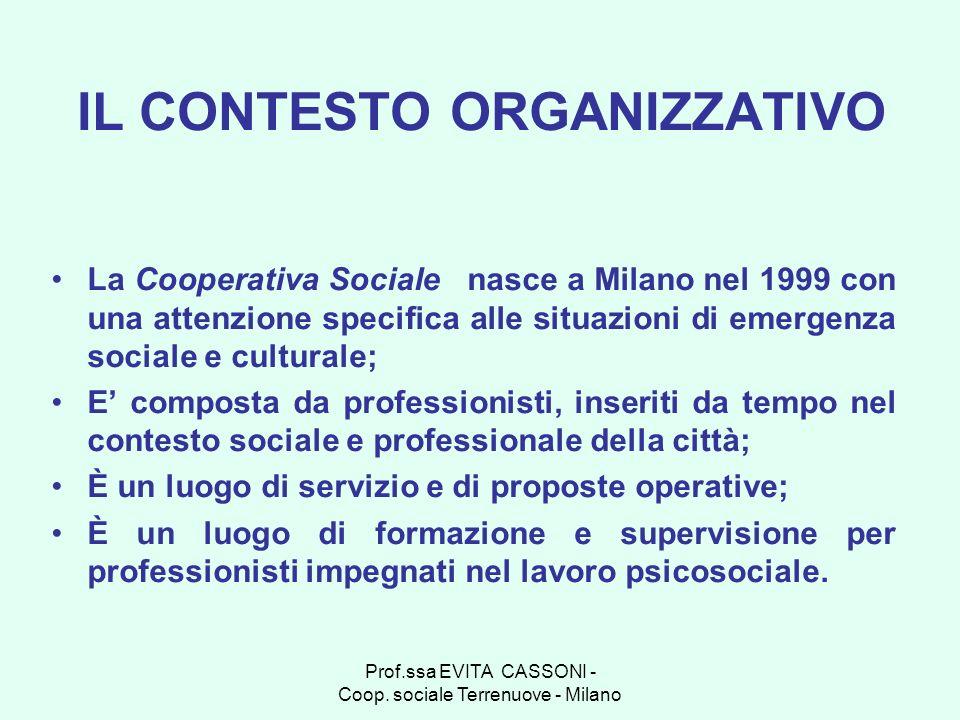 Prof.ssa EVITA CASSONI - Coop. sociale Terrenuove - Milano La Cooperativa Sociale nasce a Milano nel 1999 con una attenzione specifica alle situazioni