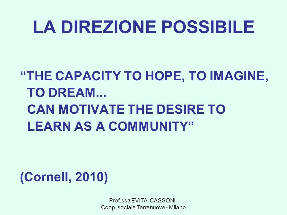 Prof.ssa EVITA CASSONI - Coop. sociale Terrenuove - Milano LA DIREZIONE POSSIBILE THE CAPACITY TO HOPE, TO IMAGINE, TO DREAM... CAN MOTIVATE THE DESIR