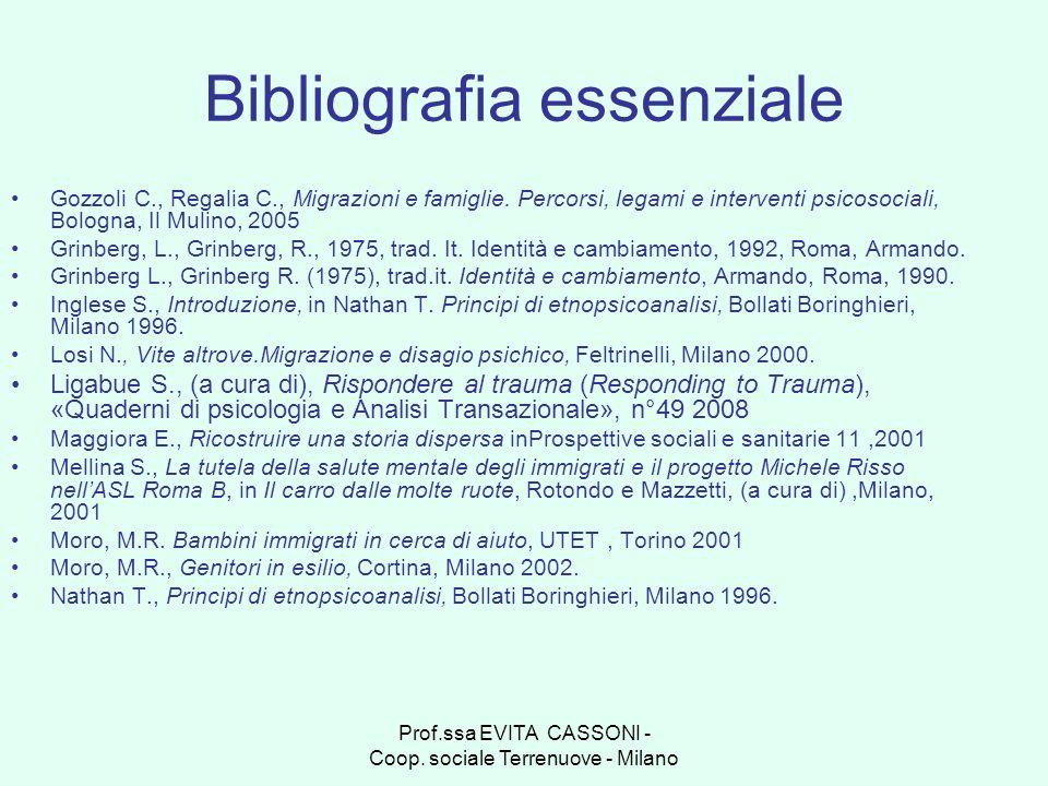 Prof.ssa EVITA CASSONI - Coop. sociale Terrenuove - Milano Bibliografia essenziale Gozzoli C., Regalia C., Migrazioni e famiglie. Percorsi, legami e i