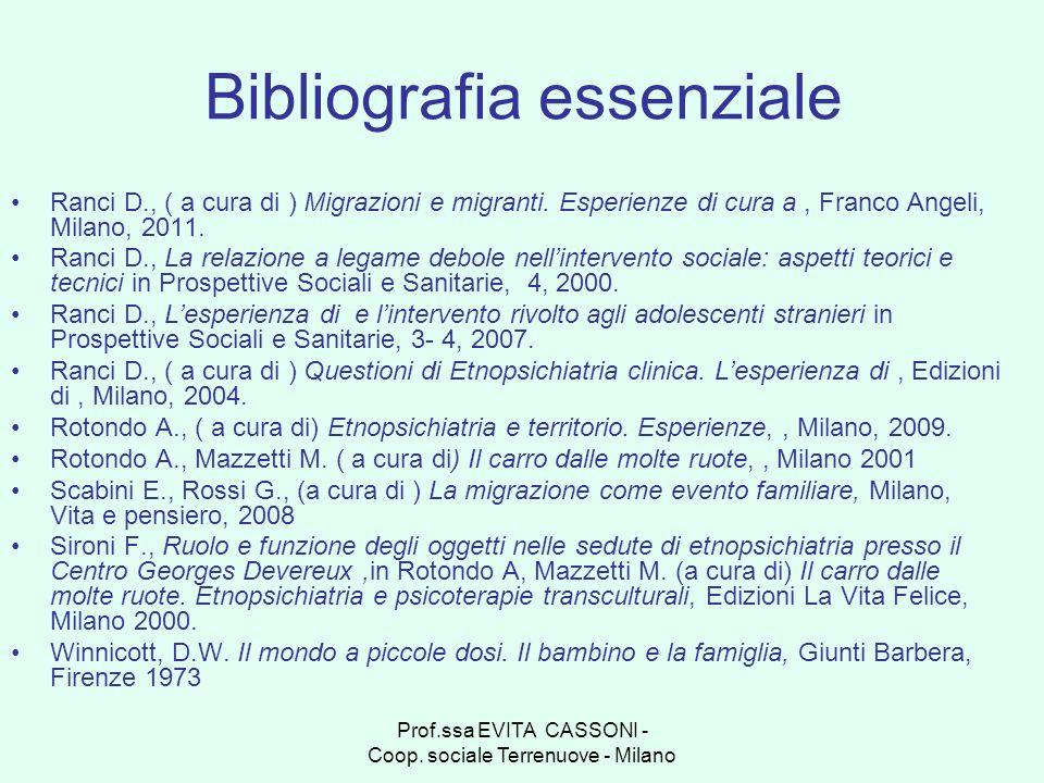 Prof.ssa EVITA CASSONI - Coop. sociale Terrenuove - Milano Bibliografia essenziale Ranci D., ( a cura di ) Migrazioni e migranti. Esperienze di cura a
