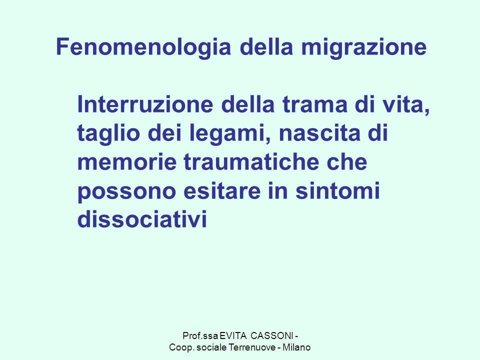 Prof.ssa EVITA CASSONI - Coop. sociale Terrenuove - Milano Fenomenologia della migrazione Interruzione della trama di vita, taglio dei legami, nascita