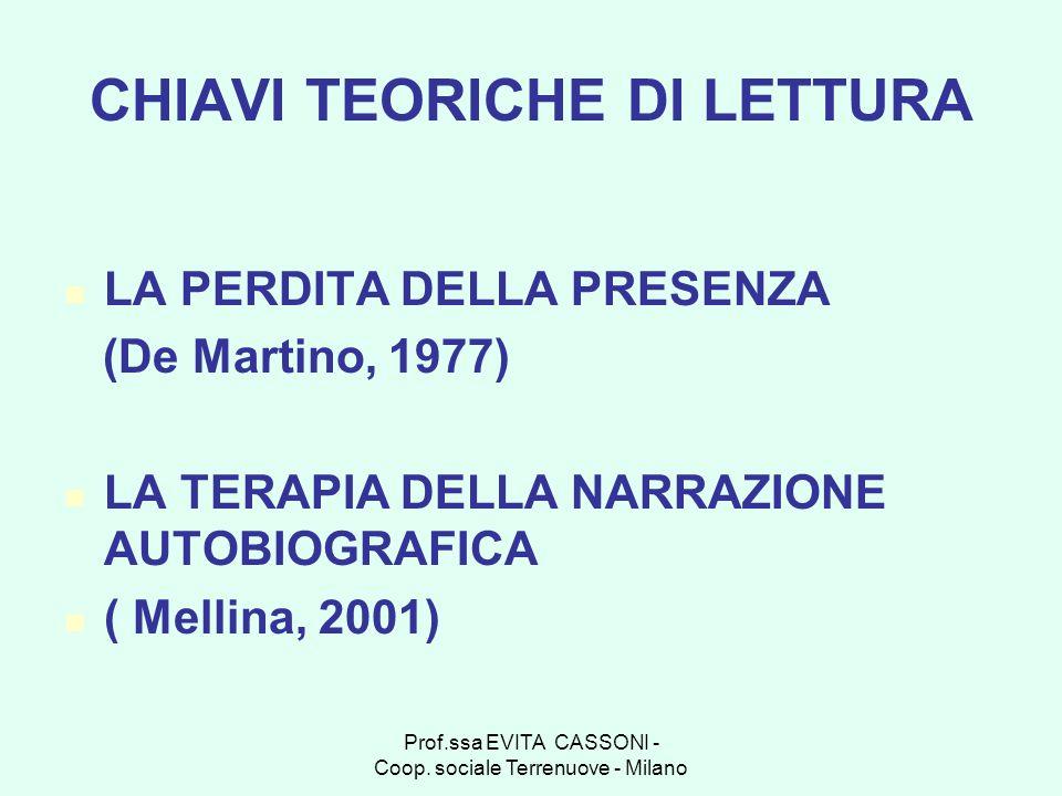 Prof.ssa EVITA CASSONI - Coop. sociale Terrenuove - Milano CHIAVI TEORICHE DI LETTURA LA PERDITA DELLA PRESENZA (De Martino, 1977) LA TERAPIA DELLA NA