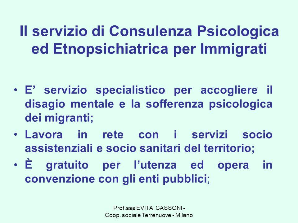 Prof.ssa EVITA CASSONI - Coop. sociale Terrenuove - Milano Il servizio di Consulenza Psicologica ed Etnopsichiatrica per Immigrati E servizio speciali