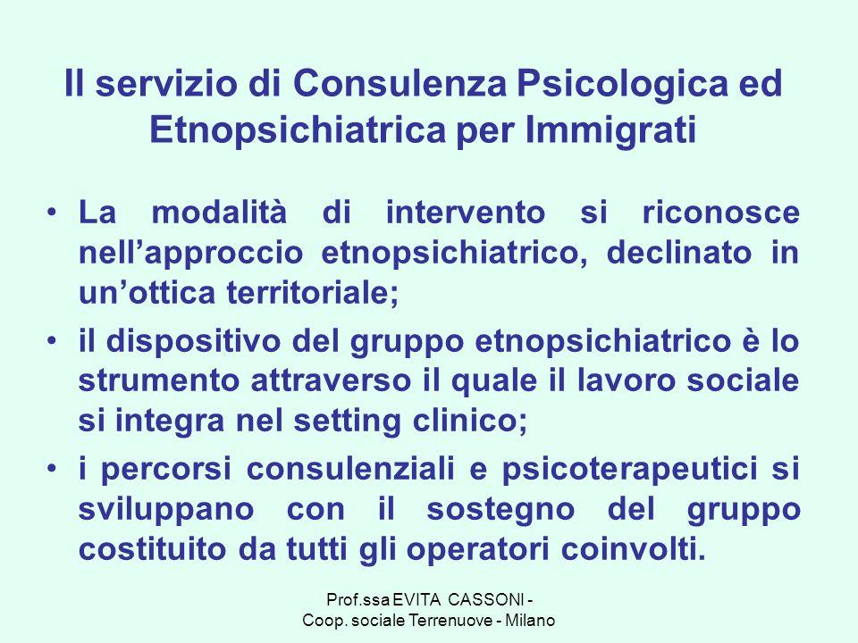 Prof.ssa EVITA CASSONI - Coop. sociale Terrenuove - Milano Il servizio di Consulenza Psicologica ed Etnopsichiatrica per Immigrati La modalità di inte