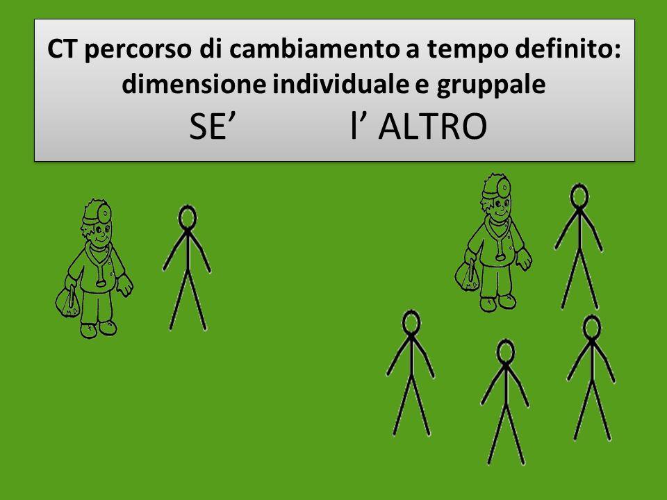 CT percorso di cambiamento a tempo definito: dimensione individuale e gruppale SE l ALTRO