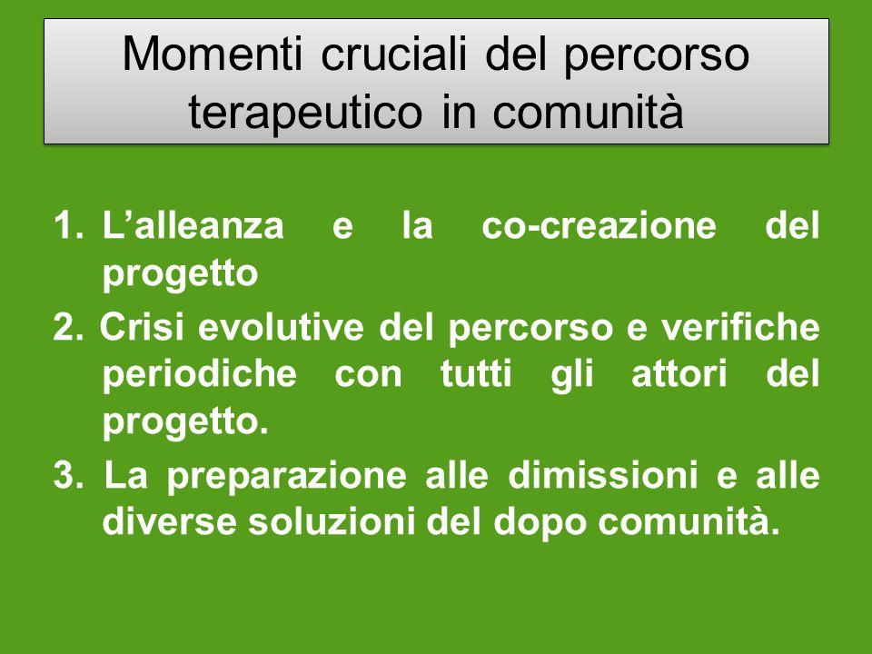 Momenti cruciali del percorso terapeutico in comunità 1. Lalleanza e la co-creazione del progetto 2. Crisi evolutive del percorso e verifiche periodic