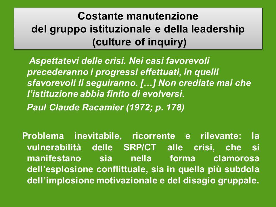 Costante manutenzione del gruppo istituzionale e della leadership (culture of inquiry) Costante manutenzione del gruppo istituzionale e della leadersh