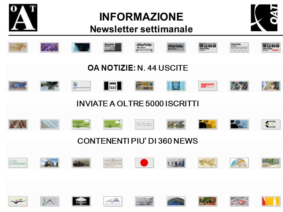 INFORMAZIONE Newsletter settimanale INVIATE A OLTRE 5000 ISCRITTI OA NOTIZIE: N. 44 USCITE CONTENENTI PIU DI 360 NEWS