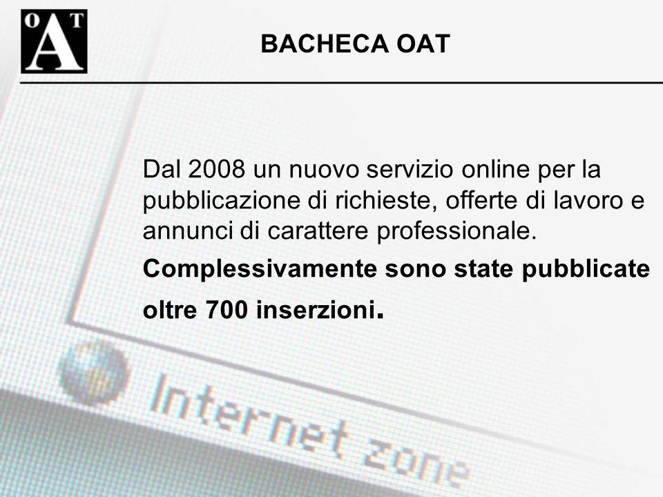 BACHECA OAT Dal 2008 un nuovo servizio online per la pubblicazione di richieste, offerte di lavoro e annunci di carattere professionale. Complessivame