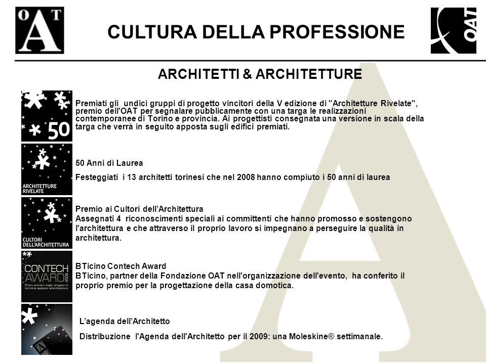 ARCHITETTI & ARCHITETTURE Premiati gli undici gruppi di progetto vincitori della V edizione di Architetture Rivelate , premio dell OAT per segnalare pubblicamente con una targa le realizzazioni contemporanee di Torino e provincia.