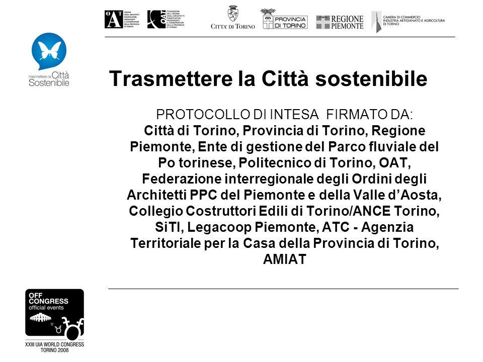 Trasmettere la Città sostenibile PROTOCOLLO DI INTESA FIRMATO DA: Città di Torino, Provincia di Torino, Regione Piemonte, Ente di gestione del Parco f