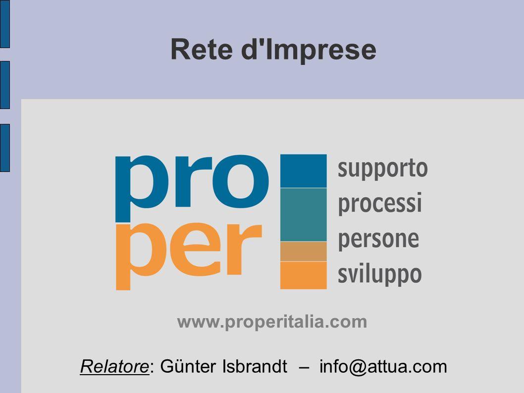 Rete d Imprese Relatore: Günter Isbrandt – info@attua.com www.properitalia.com