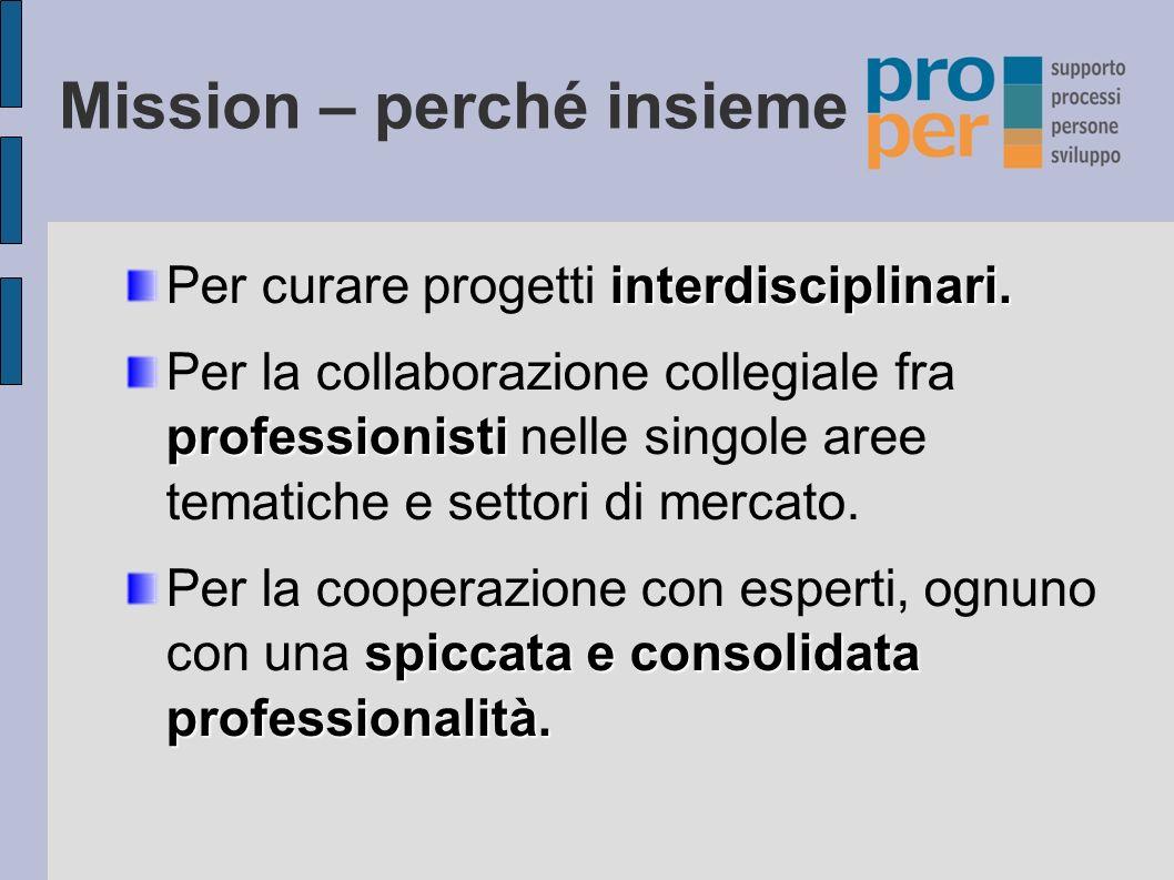 Mission – perché insieme interdisciplinari.Per curare progetti interdisciplinari.