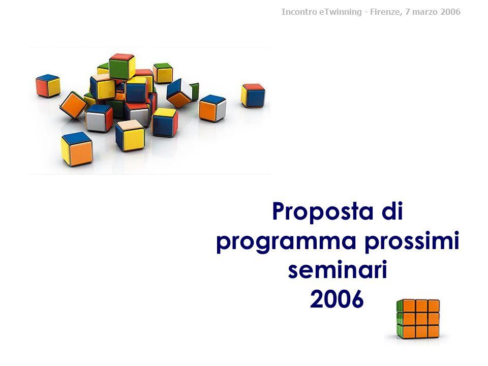 Proposta di programma prossimi seminari 2006 Incontro eTwinning - Firenze, 7 marzo 2006
