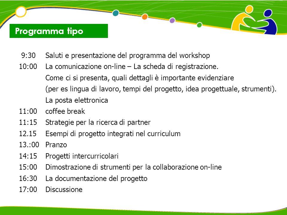 9:30Saluti e presentazione del programma del workshop 10:00La comunicazione on-line – La scheda di registrazione.