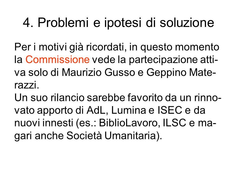 4. Problemi e ipotesi di soluzione Per i motivi già ricordati, in questo momento la Commissione vede la partecipazione atti- va solo di Maurizio Gusso