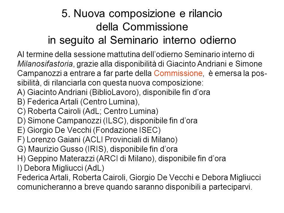 5. Nuova composizione e rilancio della Commissione in seguito al Seminario interno odierno Al termine della sessione mattutina dellodierno Seminario i