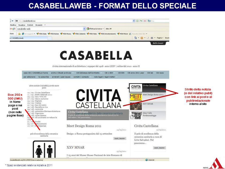 publiredazionale interno al sito con link dalla home page * Spazi evidenziati relativi a iniziativa 2011 CASABELLAWEB - FORMAT DELLO SPECIALE