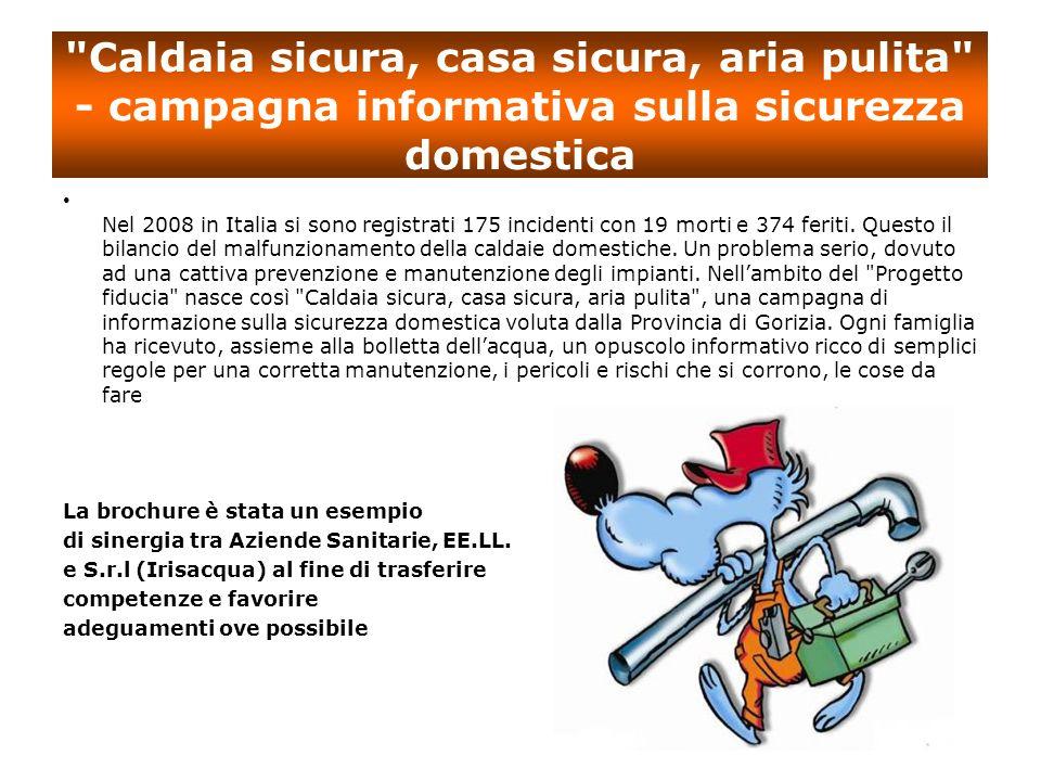 Caldaia sicura, casa sicura, aria pulita - campagna informativa sulla sicurezza domestica Nel 2008 in Italia si sono registrati 175 incidenti con 19 morti e 374 feriti.
