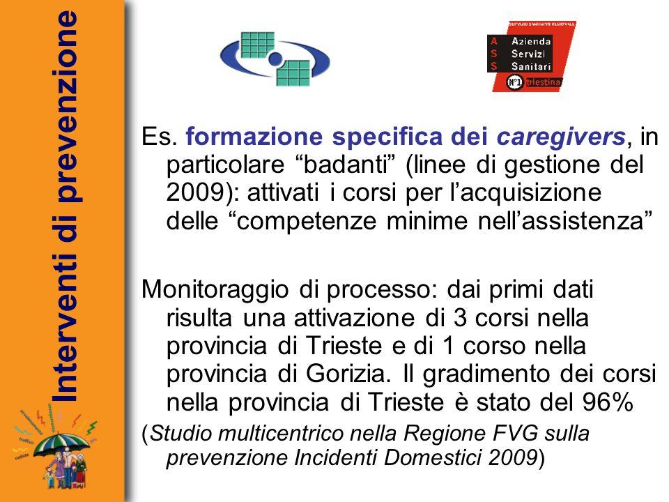 Es. formazione specifica dei caregivers, in particolare badanti (linee di gestione del 2009): attivati i corsi per lacquisizione delle competenze mini