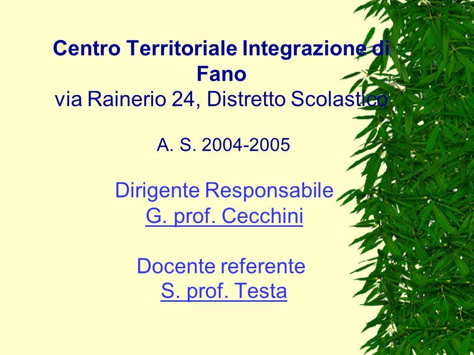 Centro Territoriale Integrazione di Fano via Rainerio 24, Distretto Scolastico A. S. 2004-2005 Dirigente Responsabile G. prof. Cecchini Docente refere