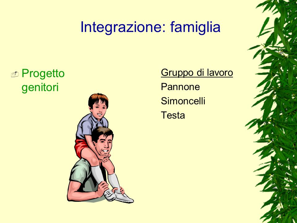 Integrazione: famiglia Progetto genitori Gruppo di lavoro Pannone Simoncelli Testa