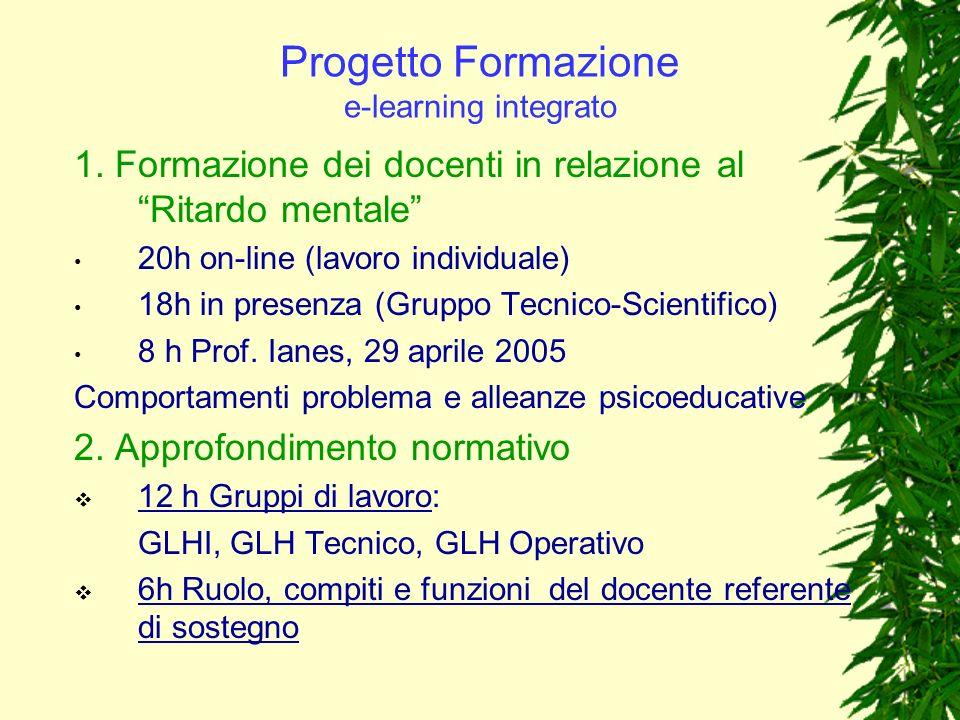 Progetto Formazione e-learning integrato 1. Formazione dei docenti in relazione al Ritardo mentale 20h on-line (lavoro individuale) 18h in presenza (G