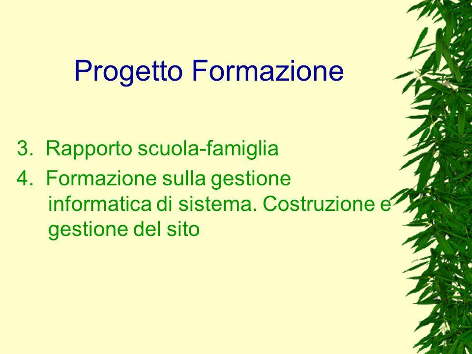 Progetto Formazione 3. Rapporto scuola-famiglia 4. Formazione sulla gestione informatica di sistema. Costruzione e gestione del sito