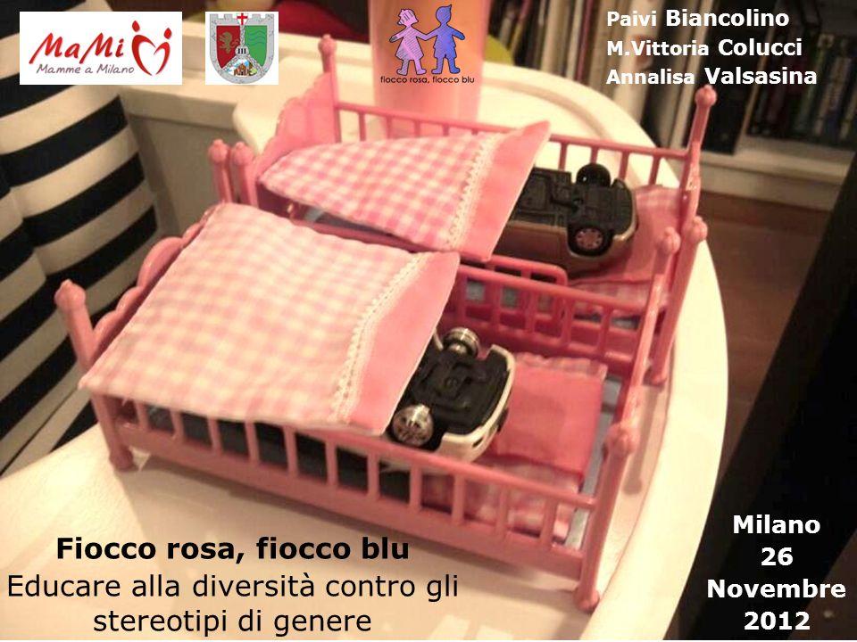 Fiocco rosa, fiocco blu Educare alla diversità contro gli stereotipi di genere Milano 26 Novembre 2012 Paivi Biancolino M.Vittoria Colucci Annalisa Va