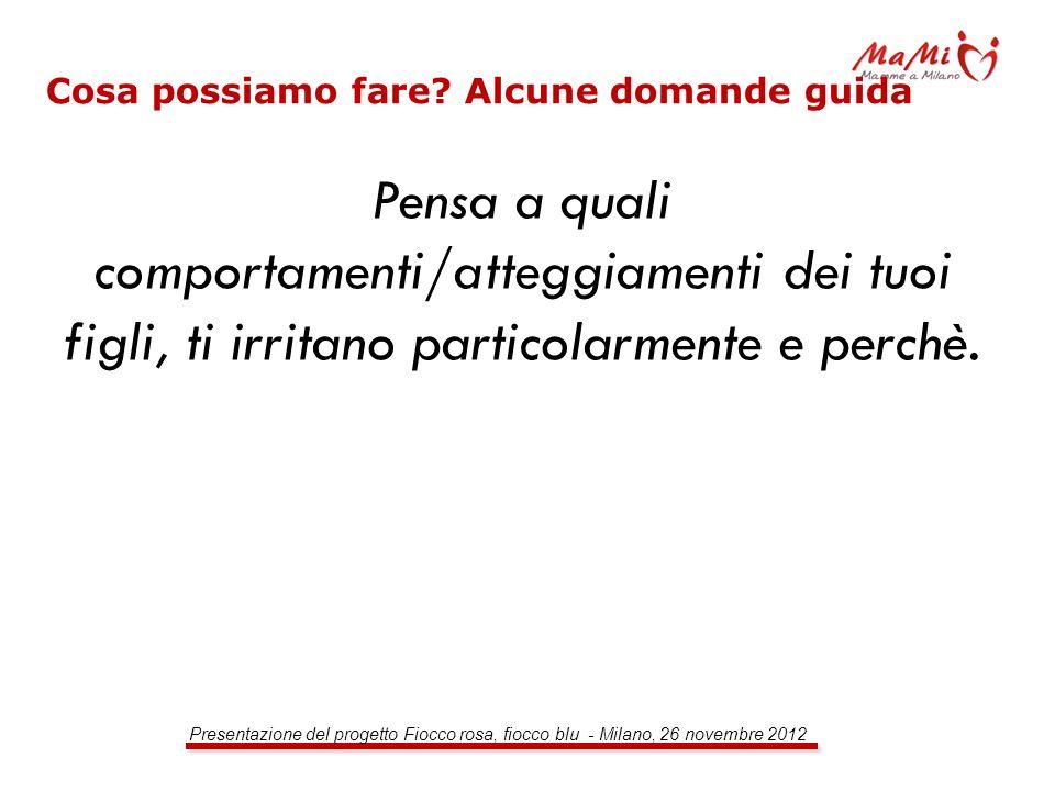Presentazione del progetto Fiocco rosa, fiocco blu - Milano, 26 novembre 2012 Cosa possiamo fare? Alcune domande guida Pensa a quali comportamenti/att